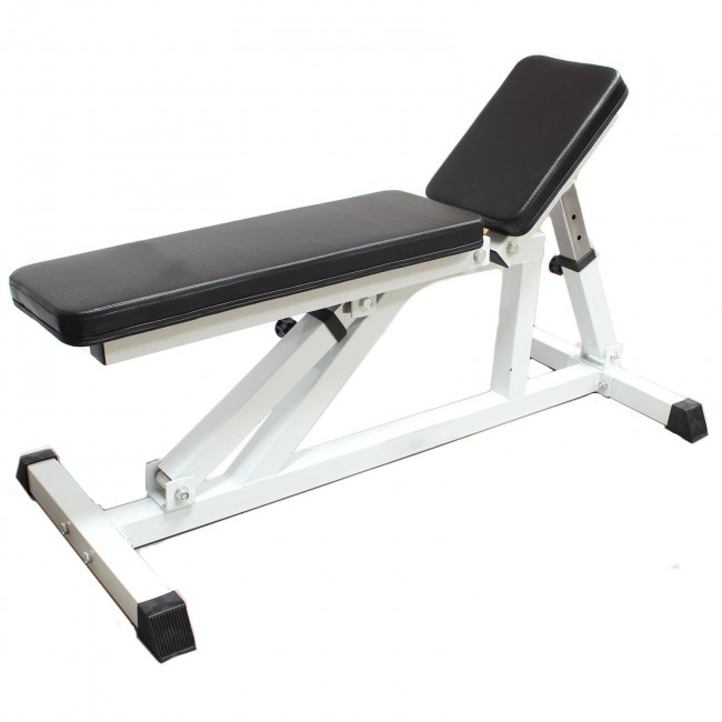 Hardcastle White Flat Incline Adjustable Weight Bench